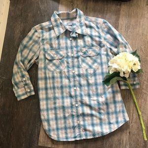 Carhartt | Blue and White Plaid Button Down Shirt